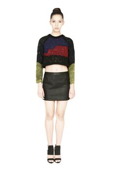 'Wave' embroidered silk organza top with a contrast lycra jersey back and a conceal zip bone detail. Available on or shop Cropped Sweater, Jumper, Morphe, Silk Organza, Embroidered Silk, Gentleman, Looks Great, Leather Skirt, Wave