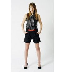 Holly Polka Dot Pussybow Sleeveless Top - team it with black shorts and heels for chic summer urban look - £25.00