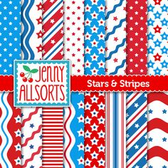 Patriotic Digital Scrapbook Paper - Red White Blue Stars & Stripes graphic designs, America Independence Day background, Fourth of July Digital Scrapbook Paper, Scrapbook Pages, Digital Papers, Digital Art, Independence Day Background, America Independence Day, Scrapbook Background, Printable Paper, Free Printable