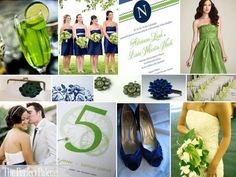 Lime Green and navy blue wedding ideas (except with black instead of navy)