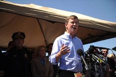 Colorado Governor Hickenlooper addresses the media about the Aurora, Colorado theater shooting on July 20, 2012.