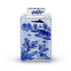 Peony Square Jar, Blue & White - Bungalow 5. 7.5 x 13