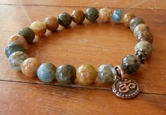 Concentration Natural Agate with Om charm Yoga by LifeForceEnergy, $27.00