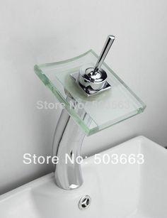 Glass Waterfall Spout Bathroom Basin Faucet Vanity Mixer Tap Chrome 1 Handle Tap L-1615 #Affiliate