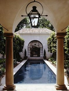 Dream backyard, featuring columns, arched doorways and a built-in pool   McAlpine House