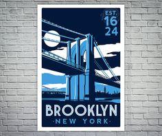 Brooklyn Bridge New York City Skyline von RetroScreenprints auf Etsy