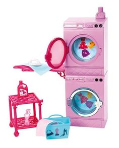 Barbie Glam Laundry - Washing Machine + Clothes Dryer + Accessories - 2013