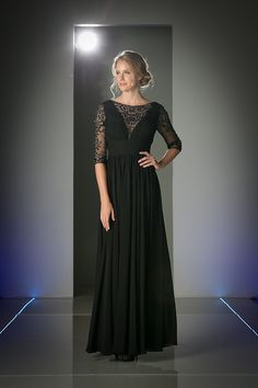 Modest Mother of the Bride Dresses Black Plus Size Chiffon Formal Gown Sale