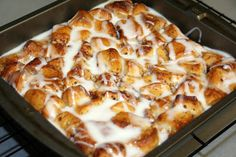 Cinnamon Roll French Toast Casserole - AMAZING! I actually doctored this up a bit. I added 8 oz cream cheese cut up into small cubes and 1/2 cut up sourdough bread.