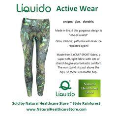 Liquido Activewear. Rainforest Patterned Hot Pants. unique. fun. durable. one-of-a-kind. limited edition prints. http://www.naturalhealthcarestore.com/