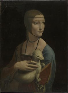 """Leonardo da Vinci: Painting """"Lady with an Ermine"""" in museum framing - ars mundi Renaissance Kunst, High Renaissance, Renaissance Portraits, Mona Lisa, Obras Leonardo Da Vinci, Chiaroscuro, Lady With An Ermine, Ouvrages D'art, Oil Painting Reproductions"""