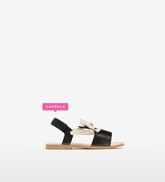 Image 1 of LEATHER SANDALS WITH RIBBONS from Zara