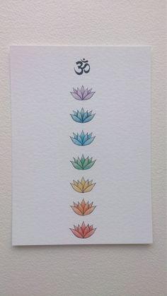 OM et Lotus Chakra Art Print dessin de 5 x par WhiteBuffaloArtworks