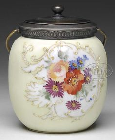Mt Washington Biscuit Jar Bone Background with Multi- Colored Floral - signed MW - 7 inch HOA