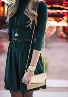 A perfect fall transition, love the stockings and emerald dress (as worn by Running on Sunshine)