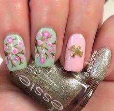 Cherry Blossom Nail design by instagram user Melcisme (me)