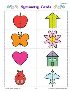 set of cards showing line symmetry--Kindergarten EM Symmetry Worksheets, Symmetry Activities, Preschool Learning Activities, Preschool Science, Kindergarten Art Lessons, Math Lessons, Teaching Shapes, Teaching Art, Symmetry Art