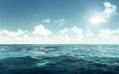 Hämta bilder Ocean, infinity, vågor, vatten, blå himmel, molnen, seascape