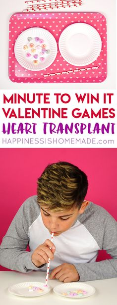 These Minute to Win It Valentine Games will be the hit of your Valentine's Day party! Valentine Minute to Win It Games for kids and adults - everyone will want to play! Christmas Games For Kids, Card Games For Kids, Outdoor Games For Kids, Kids Party Games, Baby Games, Fun Games, Team Games, Valentines Games, Valentines Day Party