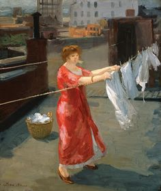 1912 Red Kimono on the Roof by John Sloan. Among John Sloan's best-known paintings are Hairdresser's Window (1907, private collection), The Picnic Ground (1907), in the Whitney Museum of American Art, The Haymarket (1907), in The Brooklyn Museum, and McSorley's Bar (1912).