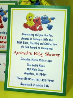 sesame street baby shower | Details about Sesame Street Baby Shower PDF CD Invitation Favor Gum ...