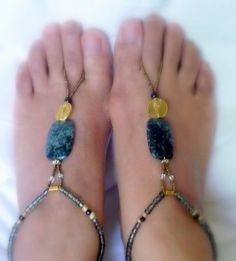 Beaded Barefoot Sandals with Green Stone with by art4ubyme on Etsy, $12.00