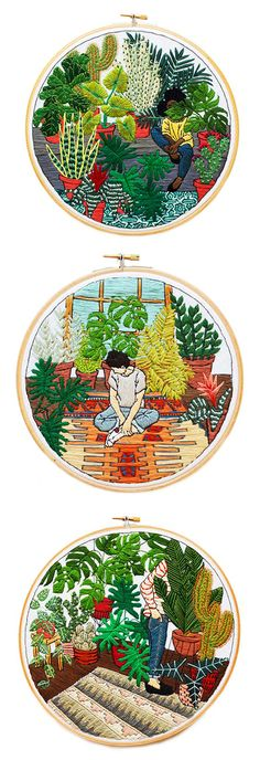 Something quite interesting...Sarah K. Benning creates beautiful embroidery hoop art that revolve around people, plants, and interior spaces. https://musetouch.org/?cat=26