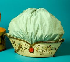 Woman's Work Bag and Box Portugal, Lisbon, circa 1787 Tools and Equipment; Work bag: Silk and gold embroidery, sequins, paste stones, wax seals, painted wood