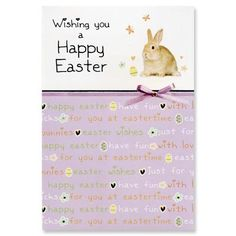 Wishing you a happy Easter =     Cost of card: £1.49    http://birthdaycards.charitygreetings.com/personalised-charity-greetings-cards-easter-cards-uk/charity-easter-cards/12783-easter-card