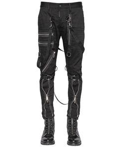 Men's Black 15cm Parachute Multi Zip Stretch Jeans