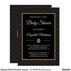 Elegant Black Panther Leopard Spots Baby Shower Card It is an interesting fact that black panthers can be either jaguars or leopards. A major difference between jaguar and leopard spots is that jaguar spots have spots inside of them,whereas leopard spots don't. This elegant design features a black leopard print pattern background, which is black and deep gray. In the center is a gold-edged black area containing the customizable text for your event in popular, elegant typography