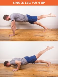 Single-Leg Raised push up List Of Bodyweight Exercises, Killer Workouts, Toning Workouts, Easy Workouts, Monthly Workouts, Push Up Workout, Workout Challenge, Workout Schedule, Workout Ideas