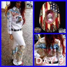 Day 9 outfit Rodeo Outfits, Western Outfits, Western Wear, Rodeo Queen Clothes, Western Show Clothes, Rodeo Cowgirl, Cowboy Hats, Fallon Taylor, Tie Dye Pants