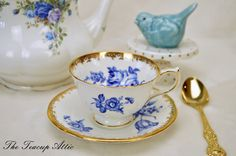 Aynsley Cobalt Blue and With Teacup and Saucer Set, English Bone China Tea Cup With Blue Roses, Replacement China, ca. 1934