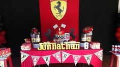 Ferrari birthday party dessert table! See more party planning ideas at CatchMyParty.com!