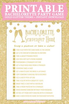 Bachelorette Scavenger Hunt - Not Dirty - Fun Clean Game - Bachelorette Party - Printable Game. Bachlorette Party, Bachelorette Party Scavenger Hunt, Bachelorette Party Games, Bachelorette Weekend, Engagement Party Games, Wedding Games, Wedding Ideas, Wedding 2017, Drinking Games For Parties
