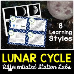 Lunar cycle differentiated station lab.  8 different student led lab stations that hit every learning style.  Students will learn all the phases of the moon and all about the lunar cycle.  Love this lab!