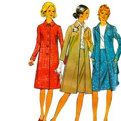 Misses McCalls 3093 1970s Pounds Thinner  A Line COAT and  SKIRT womens vintage sewing pattern by mbchills