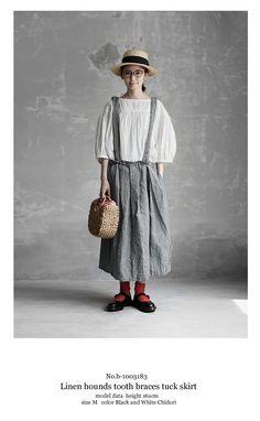 【送料無料】Joie de Vivre先染めリネン千鳥柄ブレイシーズタックスカート Girly Outfits, Pretty Outfits, Beautiful Outfits, Vintage Outfits, Fashion Outfits, Natural Fiber Clothing, Mori Fashion, Apron Dress, Japan Fashion