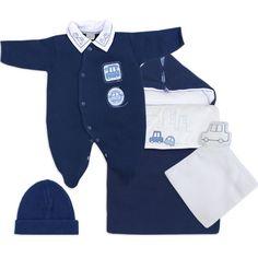 Saída de Maternidade Bebê Menino em Tricot Carro Marinho - Zumm Caramello :: 764 Kids | Roupa bebê e infantil