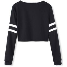 White Stripped Black Long Sleeve Short Crop Baseball Women T-Shirt (120 MXN) ❤ liked on Polyvore featuring tops, t-shirts, black, crop top, sweaters, long sleeve baseball tees, black tee, white tee and black t shirt