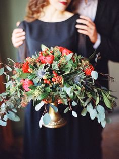 Flower and thistle centerpiece | Olga Plakitina | see more on: http://burnettsboards.com/2015/05/ravishing-red-engagement-shoot/