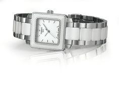 Catálogo de relojes Tissot para mujer: Reloj Tissot Cera cuadrado en acero y cerámica blanca
