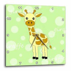 3dRose Green Baby Giraffe, Wall Clock, 10 by 10-inch