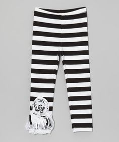 Take a look at this Black & White Stripe Embellished Leggings - Toddler & Girls by Cheeky Smyle on #zulily today!