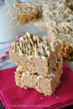 Butterscotch Peanut Butter Krispie Treats: EASY, no bake dessert ready to eat in under 30 minutes. #butterscotch, #peanutbutter #whitechocolatewonderful www.shugarysweets.com