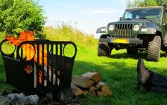 Jeep Wrangler fire pit! Just needs a grate to fit the top for camping!
