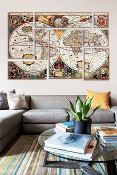 Antique Double Hemisphere Map of the World (Hondius Henricus c 1630) 8 Panel Sectional Wall Art