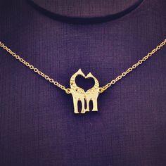 Nueva joyería de la manera del acoplamiento de cadena doble de la Jirafa colgante de collar de la mujer chica bonito regalo N1731