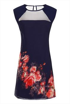 Just had to pin this Little Mistress Navy Blurred Floral Shift Dress from www.vestryonline.com/